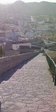 The steep steps leading from D'Alt Villa