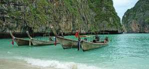 Thailand Beach and Long Tail Boats